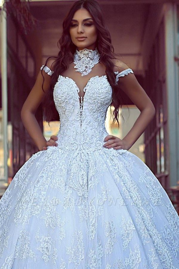 Lace High Neck Ball Gown Wedding Dresses | Sheer Back Wedding Gown