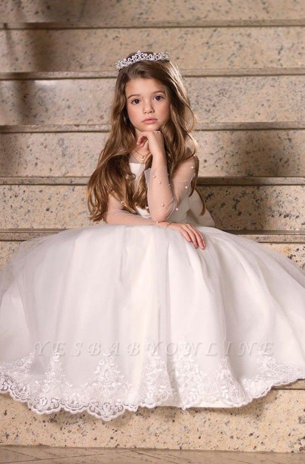 Cute Jewel Long Sleeve Applique Beading Ball Gown Flower Girl Dresses | Pageant  Dresses