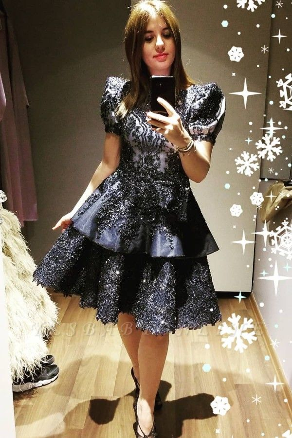 Luxury Short Sleeves Black Satin Lace Ruffles Midi Evening Dresses
