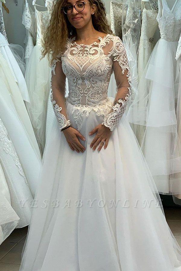 Elegant Jewel Long Sleeve Full Back Lace Pleated A Line Wedding Dresses