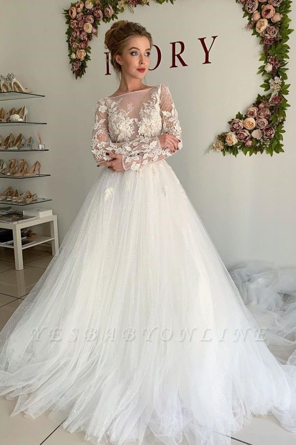 Elegant Long Sleeve Applique Beaded Tulle A Line Wedding Dresses