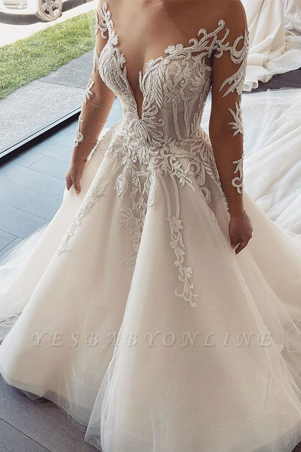 Sexy Jewel Nude Illusion Back Long Sleeve Lace Pleated A Line Wedding Dresses