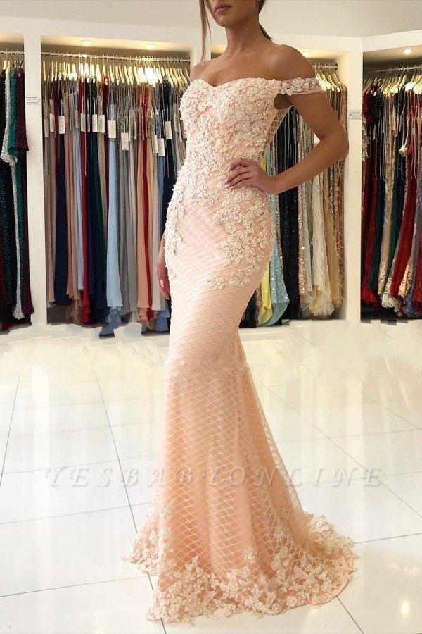 Off The Shoulder Sweetheart Floral Pearls Floor Length Mermaid Prom Dresses