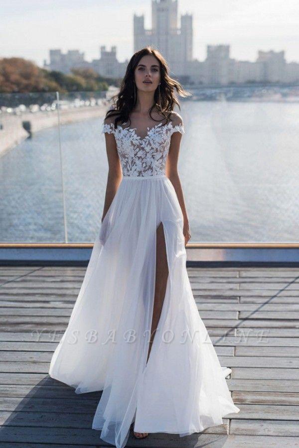 Jewel Slit Lace A Line Wedding Dresses | Sheer Back Sash Bridal Gown