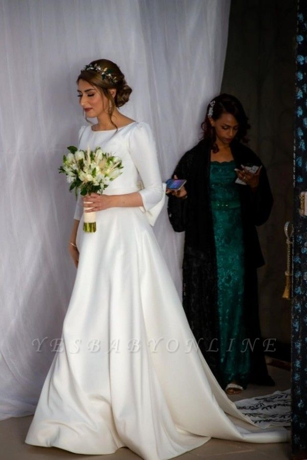 Gorgeous Half Sleeves Satin Ruffles Cathedral wedding Dresses With Bowknot
