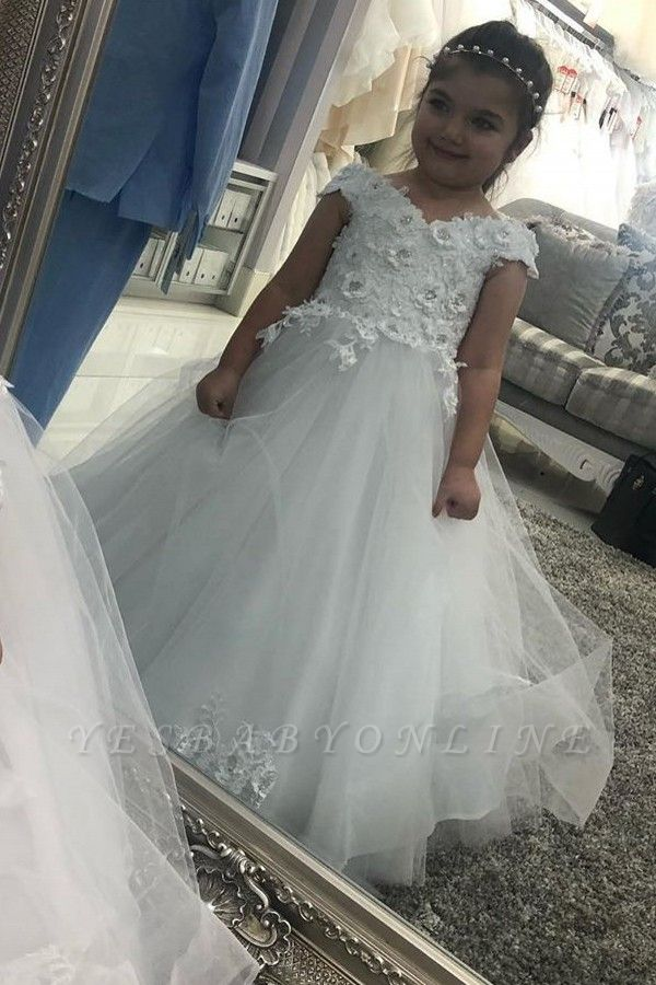 Sweetheart Cap Sleeve Floral Lace Up Back Ball Gown Flower Girl Dresses For Little Girl