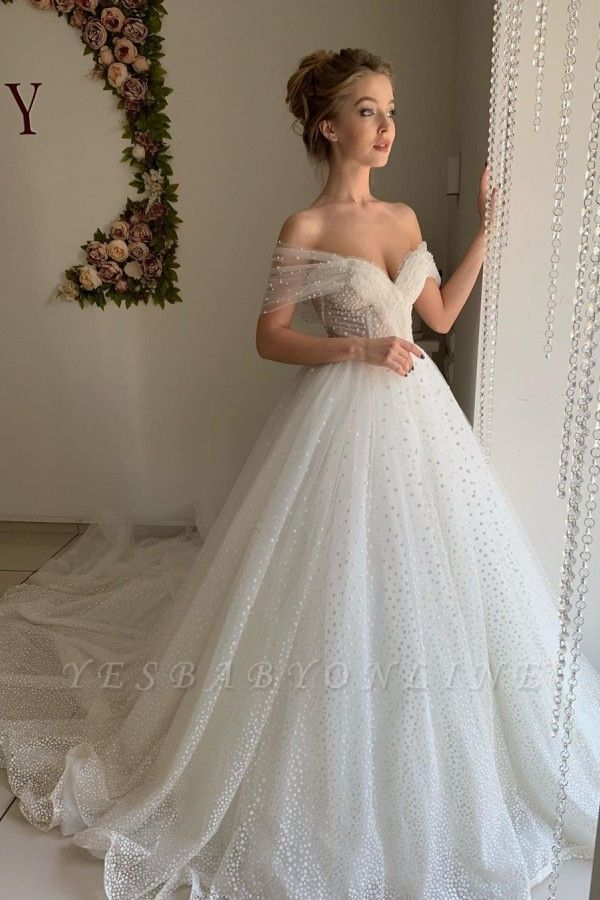 Sexy Off The Shoulder Sweetheart Backless Pleated Tulle A  Line Wedding Dresses