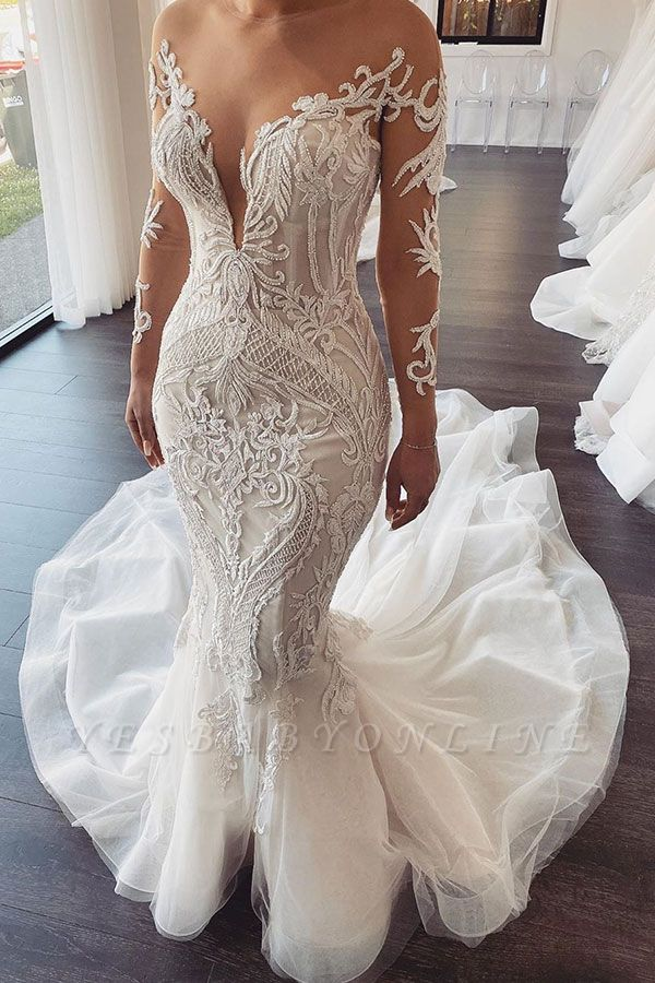 Elegant Jewel Long Sleeve Nude See Through Back Applique Fitted Mermaid Wedding Dresses