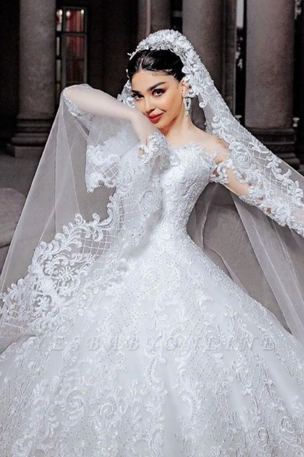 Gorgeous Tulle Lace Ruffles Ball Gown Cathedral Wedding Dresses With Long Sleeves
