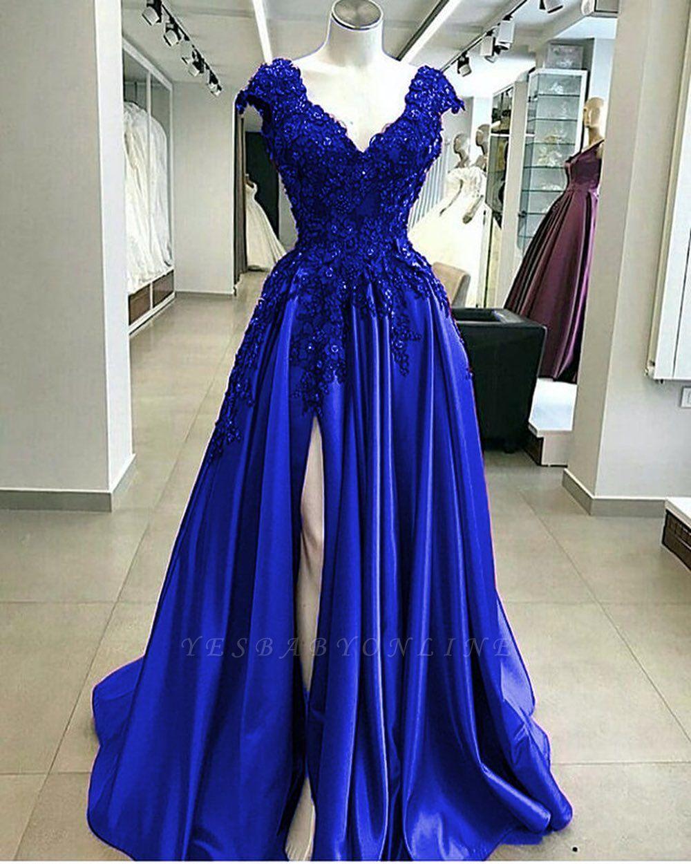 Royal Blue Straps V Neck Applique Crystal Sequin Side Slit Floor Length A Line Prom Dresses