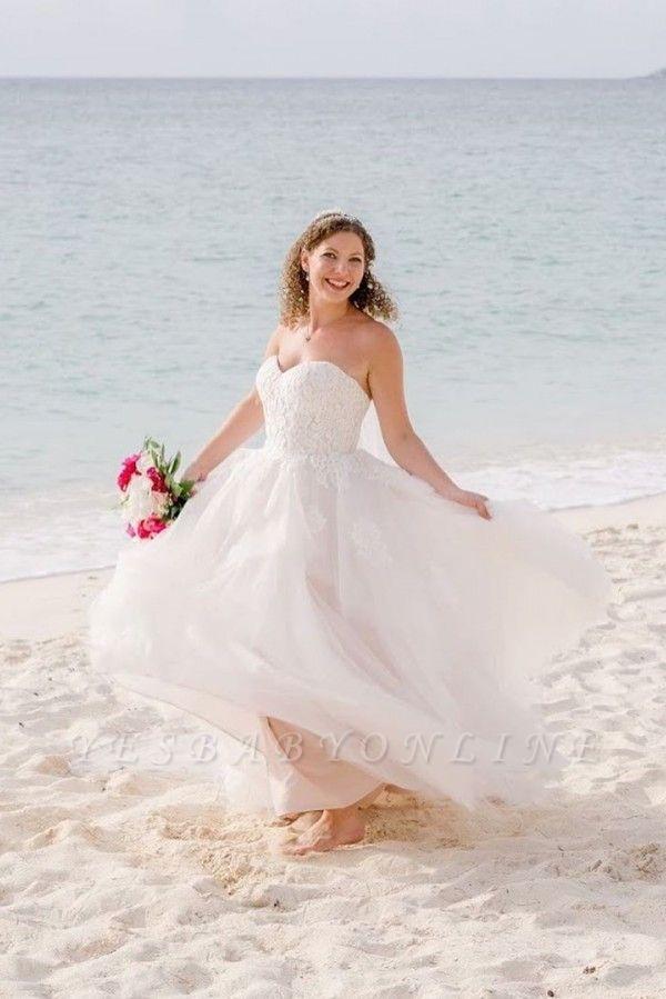 Sweetheart Sleeveless Applique A Line Boho Beach Wedding Dresses | Floor Length Bridal Gown