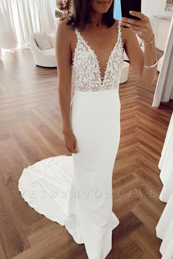 Sexy Straps Deep V Neck Applique Mermaid Wedding Dresses | Backless Bridal Gown