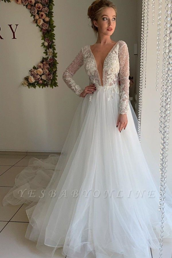 Elegant Long Sleeve Plunging V Neck Applique Flowing Tulle A Line Wedding Dresses