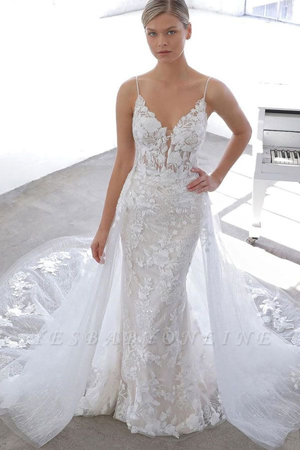 Simple Style Spaghetti Strap V Neck Applique Detachable Skirt Lace Sheath Wedding Dresses