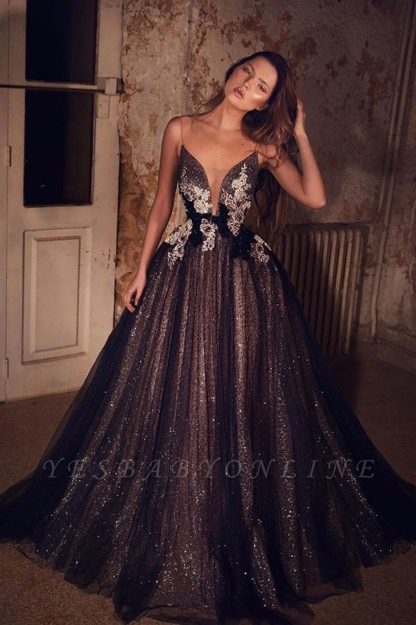 Sparkly Spaghetti Strap Sweetheart Sequin A Line Prom Dresses With Floral