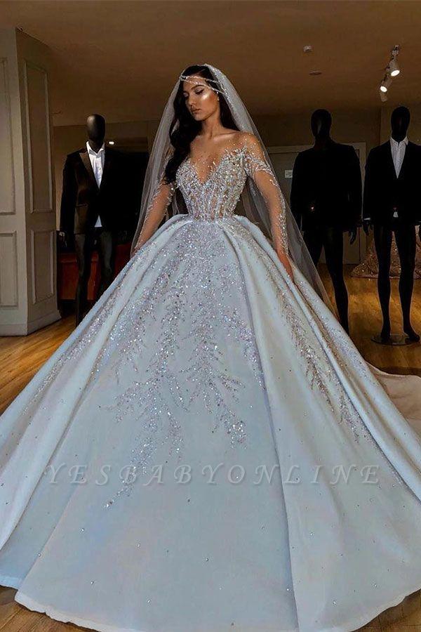 Luxury Jewel Long Sleeve Crystal Beaded Pleated Ball Gown Wedding Dresses