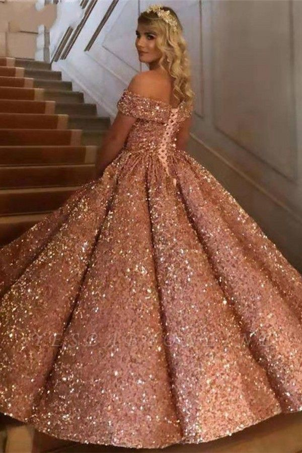 Sparkly Sweetheart Off the Shoulder Ball Gown Prom Dress | Dubai Luxury Bridal Gown