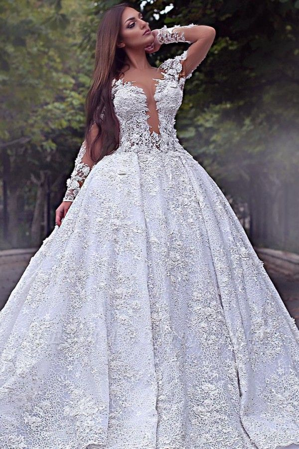 Long Sleeve Jewel Lace Crystal Wedding Dresses | A Line Backless Wedding Gown