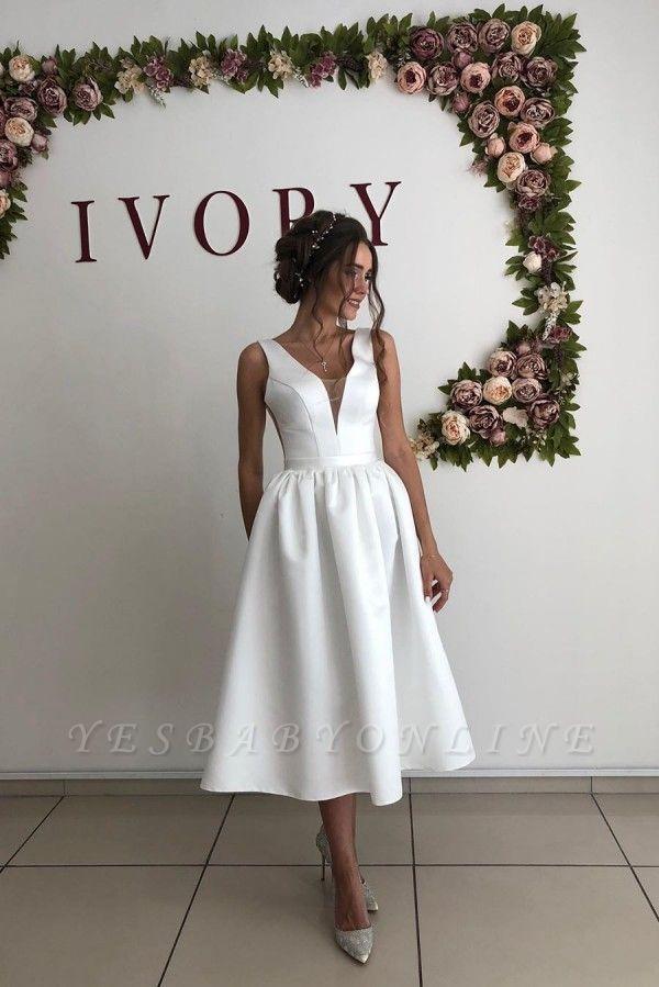 Straps Deep V Neck  Satin  Tea Legnth A  Line Wedding Dresses