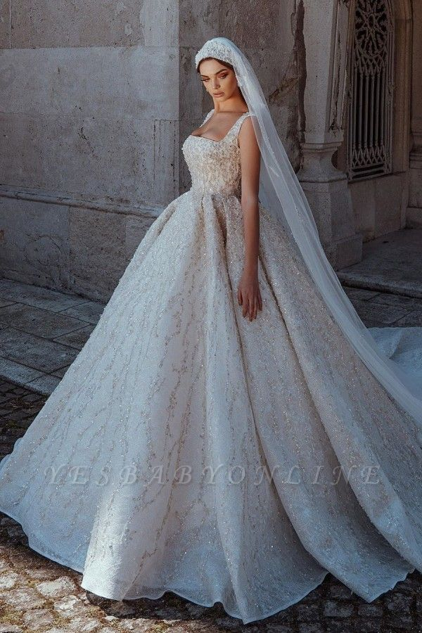 Gorgeous Straps Backless Crystal Sequined Pleated Ball Gown Wedding Dresses