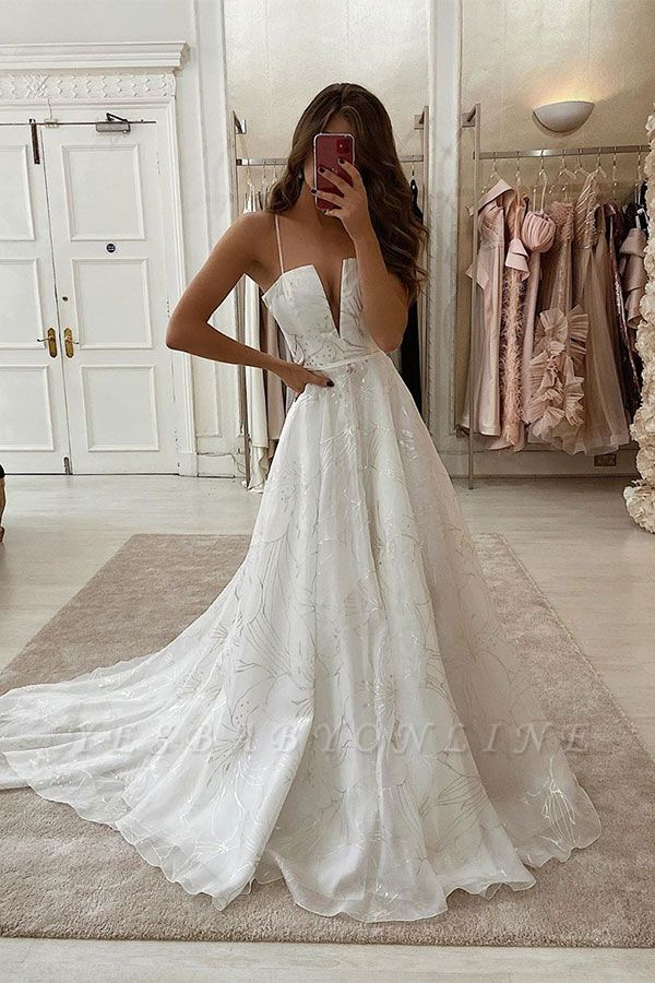 Sexy Spaghetti Strap Deep V Neck Applique Beaded A Line Wedding Dresses