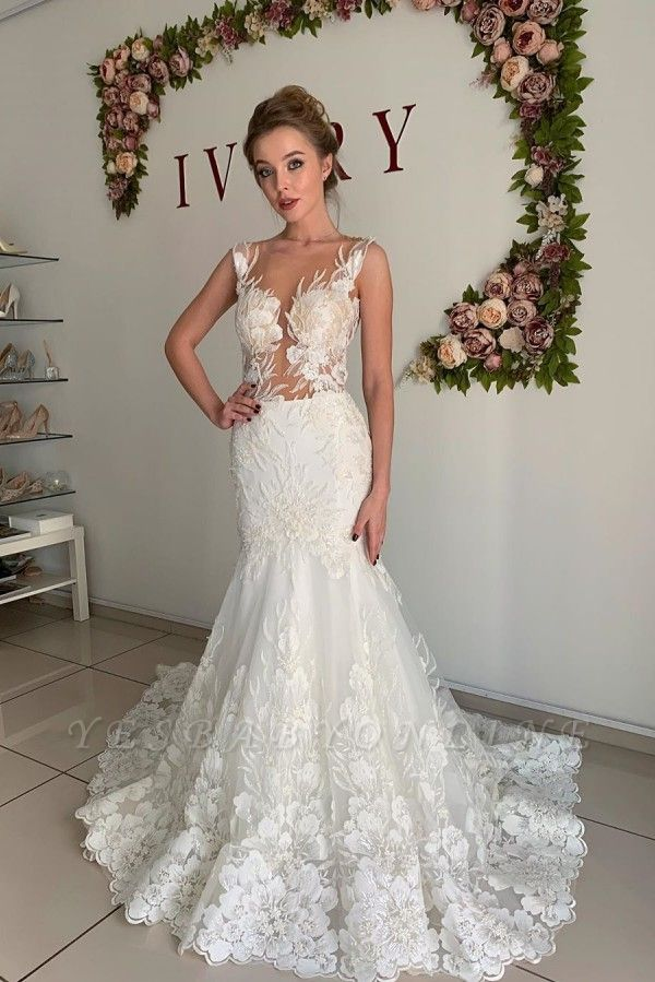 Straps Jewel Applique Tulle Fit And Flare Pleated Mermaid Wedding Dresses