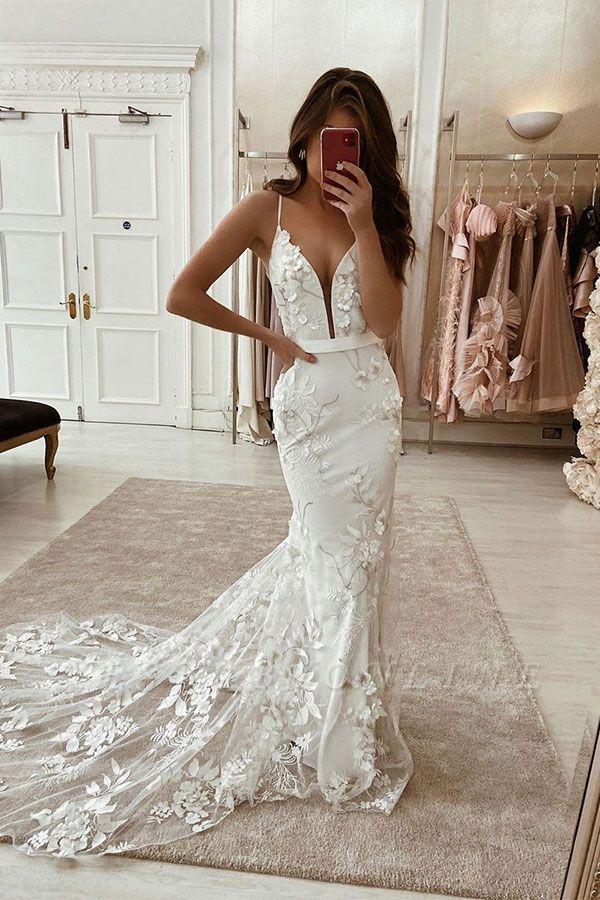 Spaghetti Strap Deep V Neck Floral Mermaid Wedding Dresses With Sash