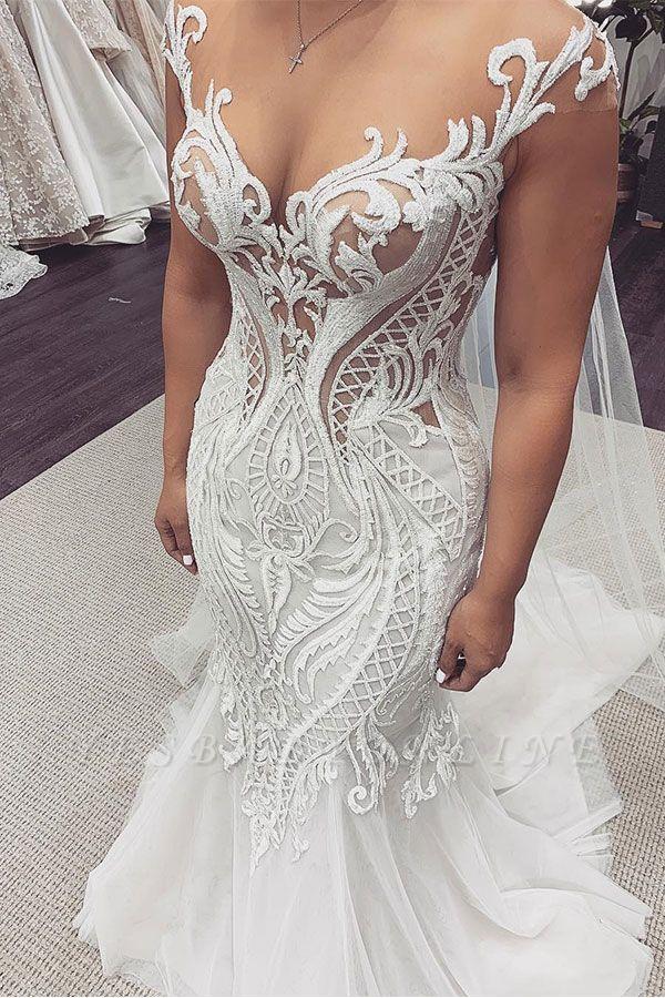 Sexy Jewel Nude Sheer Bodice Cap Sleeve Applique Mermaid Wedding Dresses