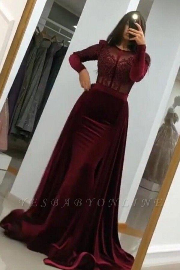 Elegant Long Sleeve Jewel Applique Fit And Flare Mermaid Prom Dresses   Detachable Skirt Evening Dresses