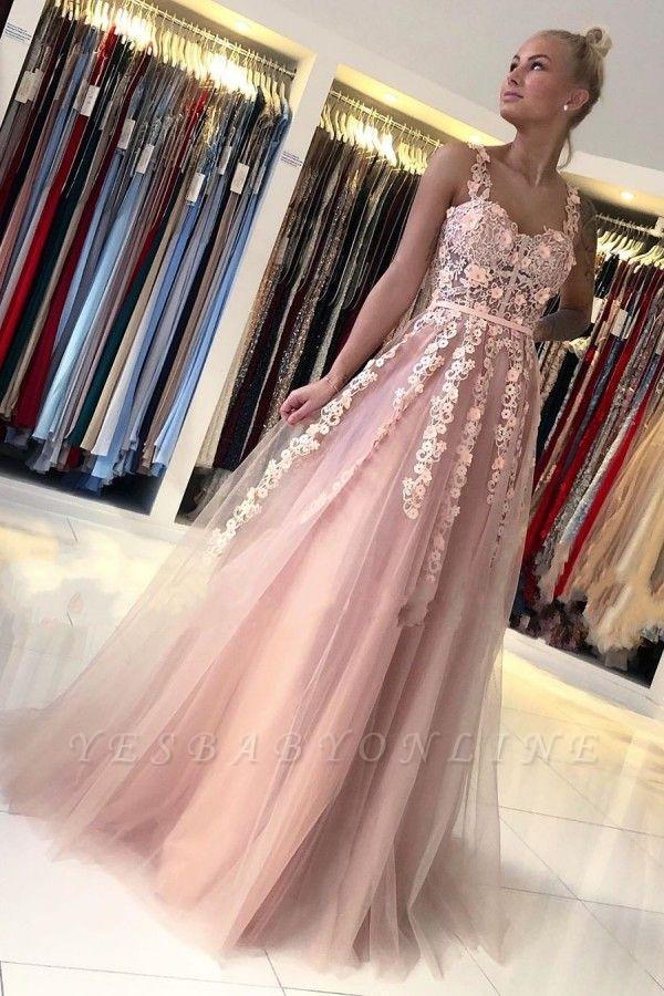 Spaghetti Strap Backless Applique Sash  Floor Length A Line Prom Dresses