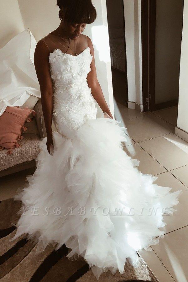 African Jewel Floral Mermaid Wedding Dresses | Sheer Ruffles Fitted Wedding Gown