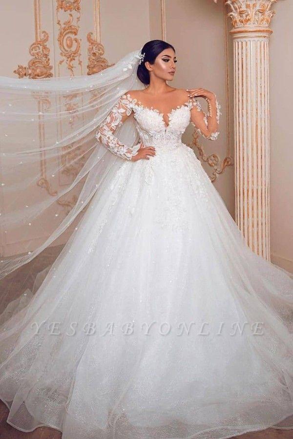 Elegant Long Sleeve Jewel Floral Applique Ball Gown Wedding Dress