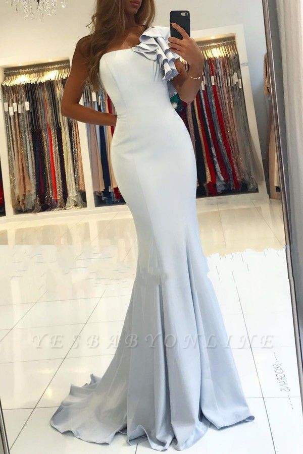 One Shoulder Sleeveless Backless Fit And Flare Mermaid Prom Dresses