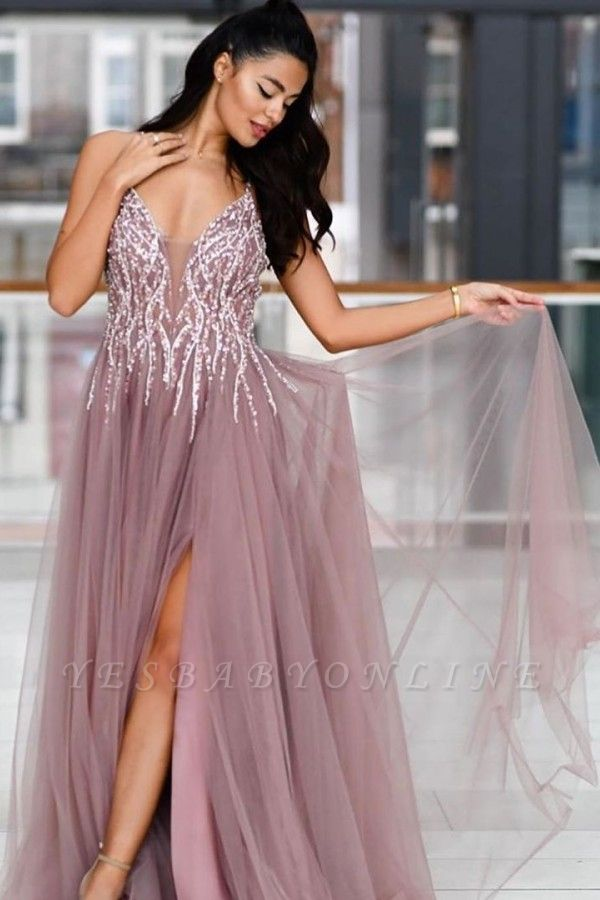 Pink Spaghetti Strap Plunging V Neck Criss-corss Back Crystal Front Slit Tulle A Line Prom Dresses