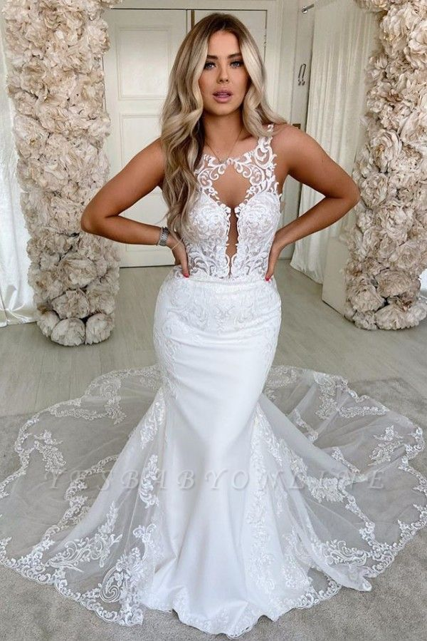 Sexy Jewel  Sleeveless Lace Backless Mermaid Wedding Dress