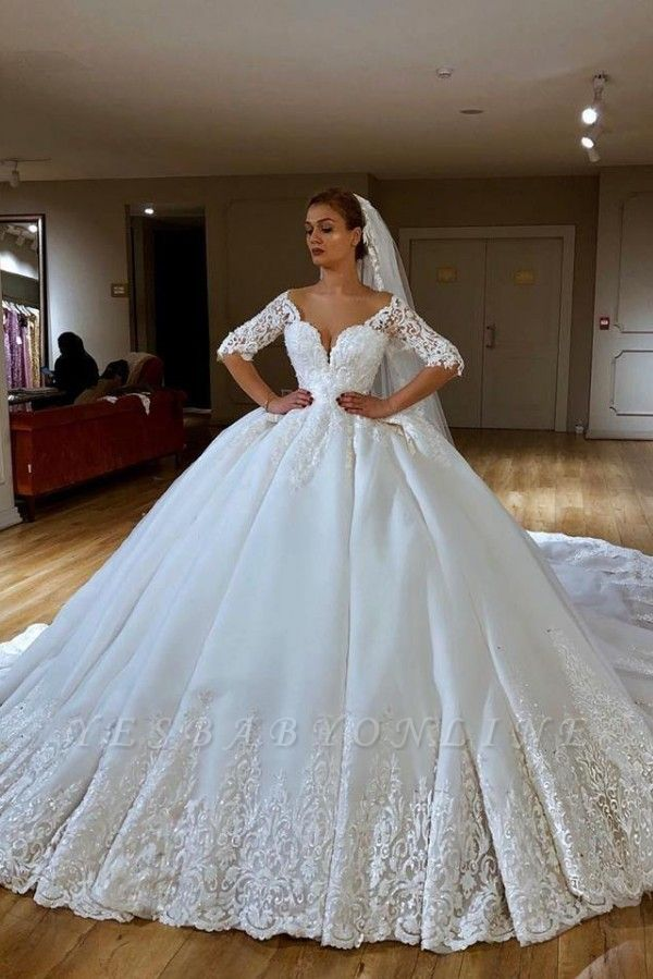 Sweetheart Lace Princess Wedding Dresses with Long Sleeves | Ball Gown Bridal Dress