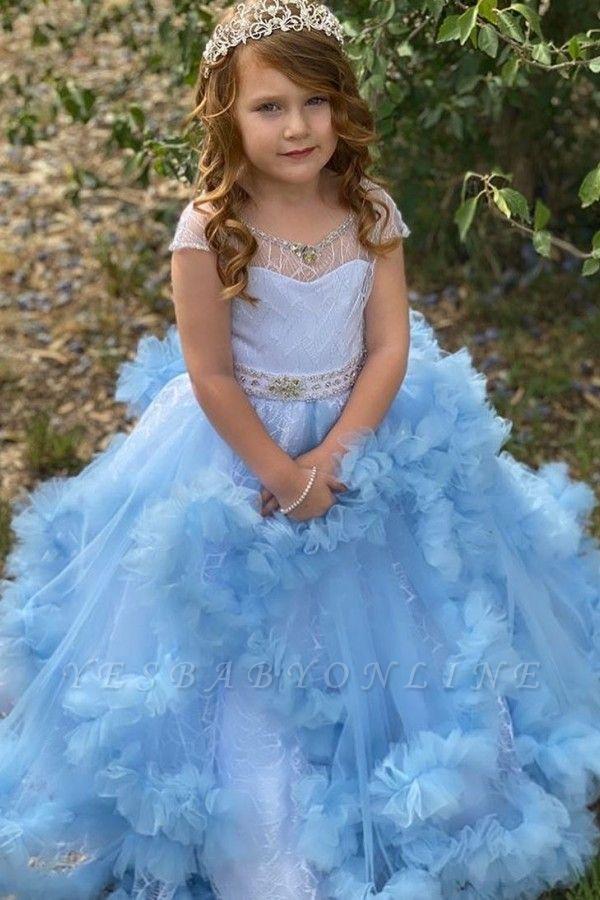 Cap Sleeve Jewel Ruffles Beaded Sash Ball Gown Flower Girl Dresses | Sky Blue Pageant  Dresses For Little Girl