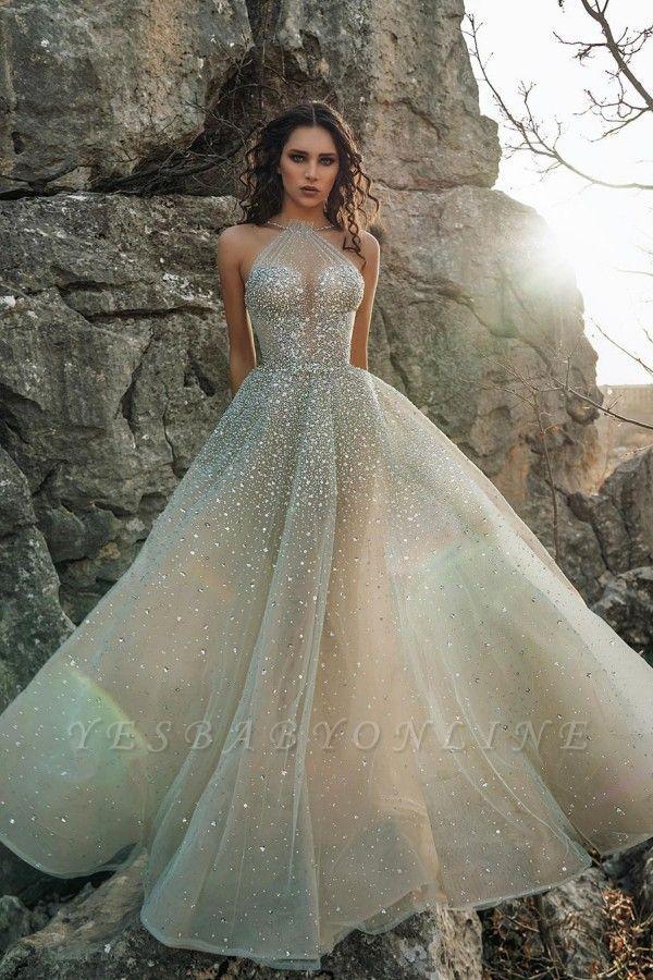 Sexy Halter Sleeveless Sequin Tulle A Line Floor Length Wedding Dress