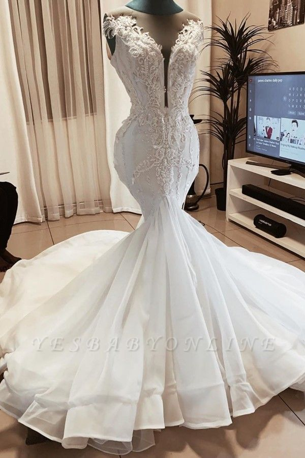 Sexy Deep V Neck Applique Beaded Fit And Flare Mermaid Wedding Dresses