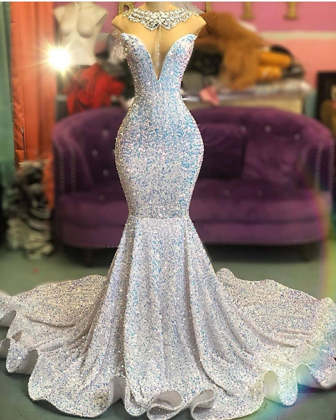 High Neck Sleeveless Crystal Sequin Fit And Flare Mermaid Prom Dresses