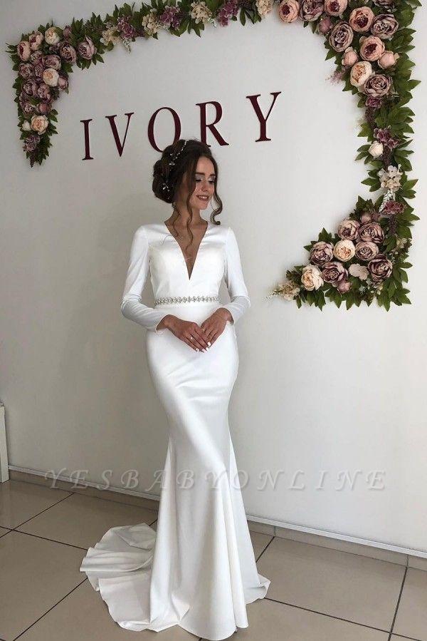 Elegant Long Sleeve Deep V Neck  Beaded Sash Mermaid Wedding dresses | Open Back Bridal Gown