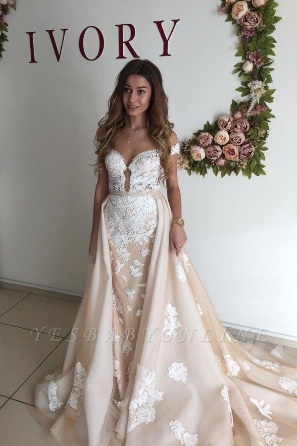 Sweetheart Cap Sleeve Applique Sheath Tulle Wedding Dresses With Detachable Skirt