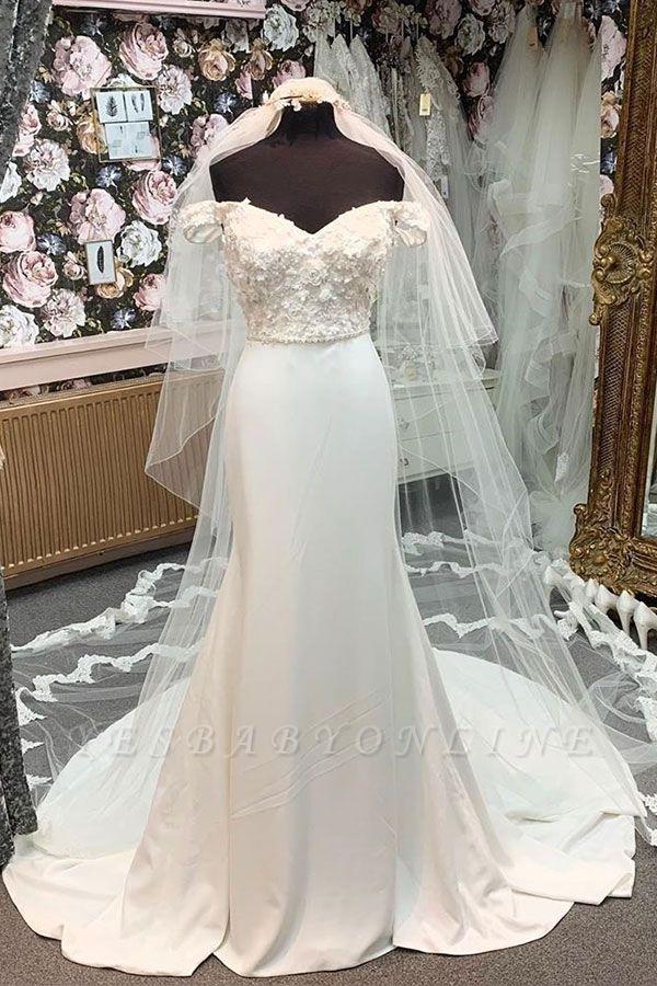 Simple Style Off The Shoulder Sweetheat Applique Beaded Sash Court Train Sheath Wedding Dresses