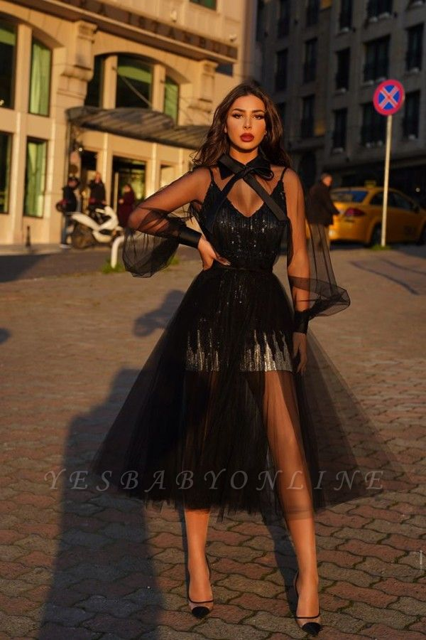 Chic Long Sleeves Tulle Black Lace Tea Length Prom Dresses With Bow