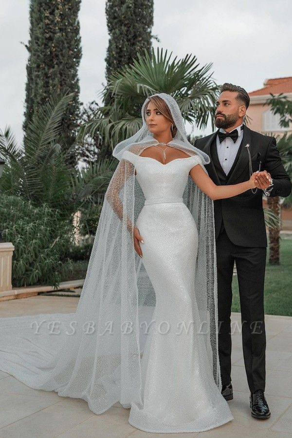 Chic Sweetheart Off The Shoulder Sash Crystal Sequin Floor Length Sheath Wedding dresses With Shawl