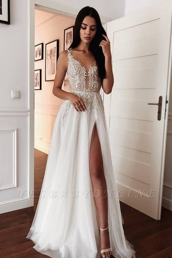 Spaghetti Strap Deep V Neck Applique Front Slit Tulle A Line Wedding Dresses