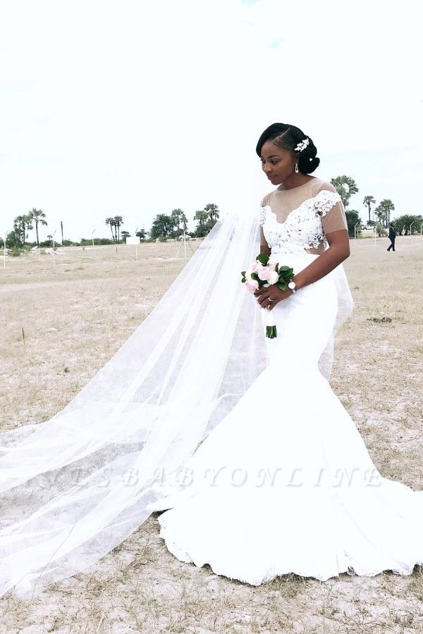 Afric Style Short Sleeve Fit And Flare Mermaid Wedding Dresses | Applique Wedding Gown