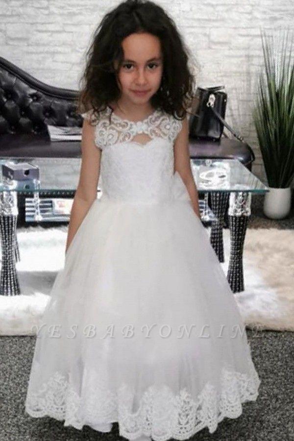 Lovely Jewel Cap Sleeve keyhole Back Applique A Line Flower Girl Dresses