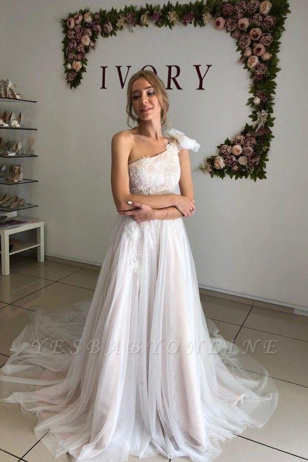 One Shoulder Backless Tulle Floor Length  Pleated A  Line Wedding Dresses
