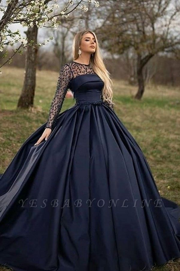 Dark Navy Jewel Long Sleeve Pearls Ball Gown Prom Dresses | Puffy Evening Dresses